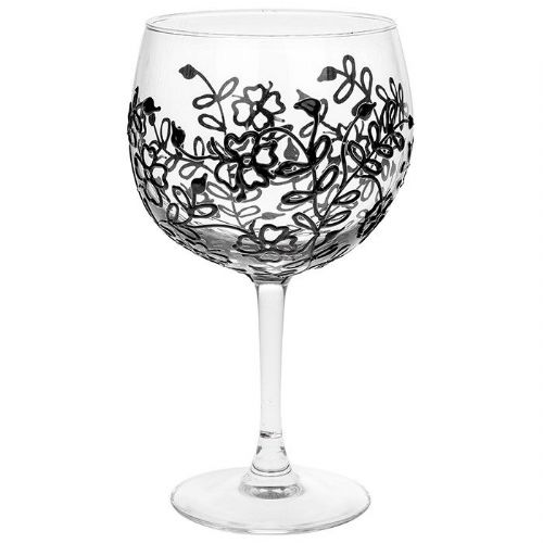 Sunny by Sue Black Flower Gin Glass